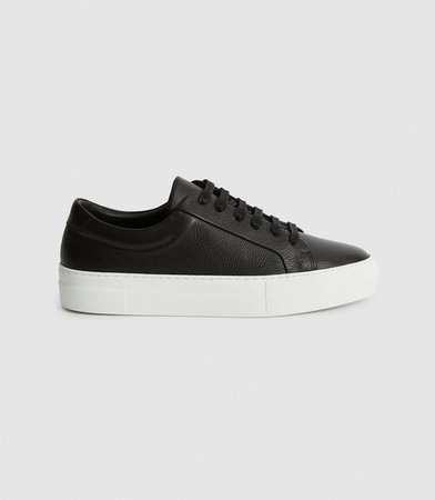 Luca Black Tumbled Leather Sneakers – REISS