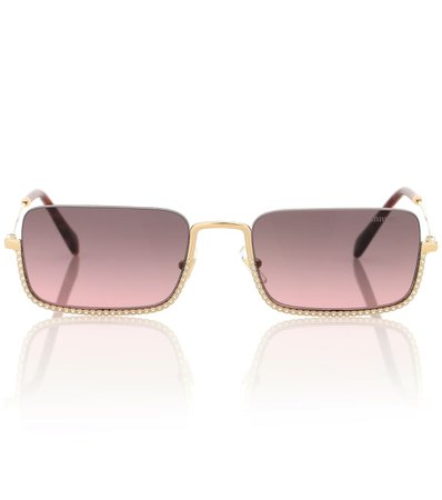 Embellished Rectangle Sunglasses | Miu Miu - Mytheresa