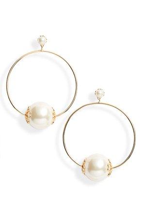 kate spade new york pearlette hoop earrings White