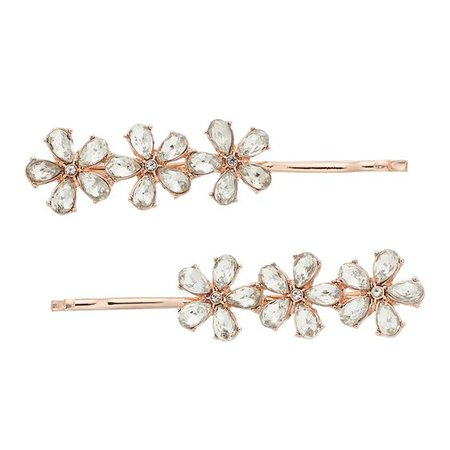 LC Lauren Conrad Simulated Crystal Flower Bobby Pin Set, Pink