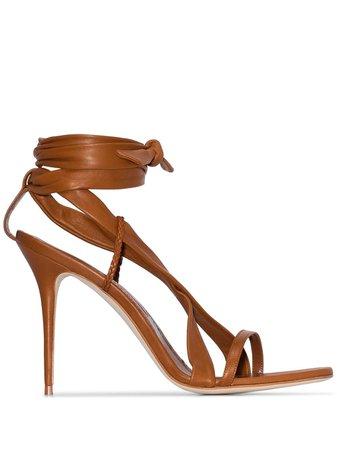 Manolo Blahnik Tor 105Mm Ankle Tie Sandals 3190739 Brown   Farfetch