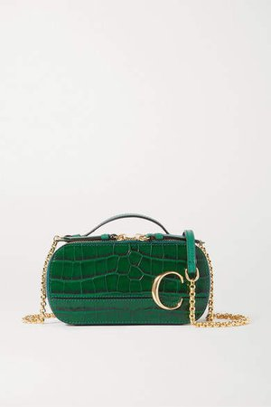 C Vanity Mini Croc-effect Leather Shoulder Bag - Green