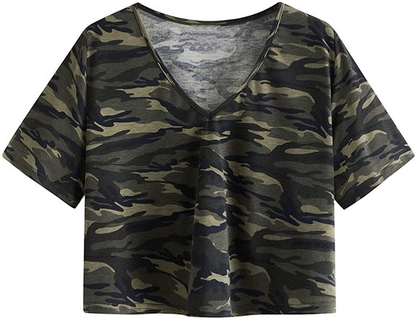 SweatyRocks Women's Casual V Neck Short Sleeve Basic Solid Crop Top T-Shirt Burgundy S at Amazon Women's Clothing store