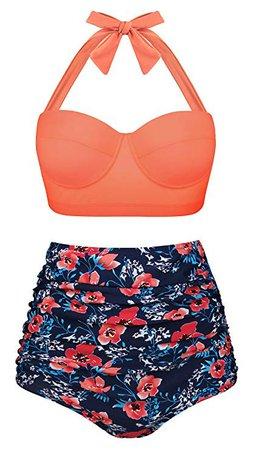 Amazon.com: Aixy Women's Retro Swimsuits for Juniors Two Piece High Waisted Bikini Bottom,Halter Orange Floral,2XL: Clothing