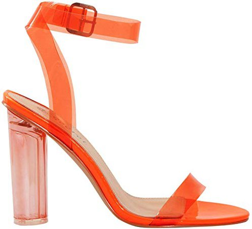 New Womens Clear Perspex See Through Heel and Strappy Toe Sandals Ladies Party Shoes [Orange 7]: Amazon.co.uk: Shoes & Bags