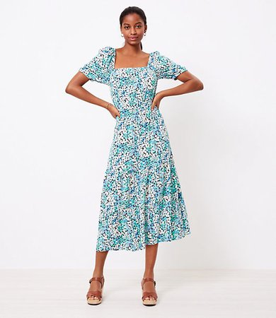 Floral Square Neck Midi Dress