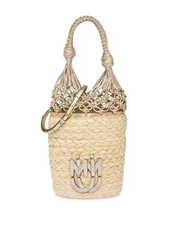 Miu Miu Straw Mesh Bucket Bag