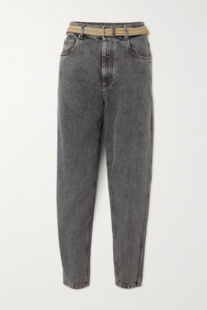 Belted Cropped High-rise Tapered Jeans - Gray