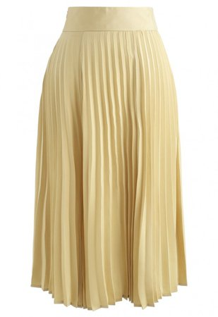 Satin Full Pleated Midi Skirt in Yellow - Skirt - BOTTOMS - Retro, Indie and Unique Fashion