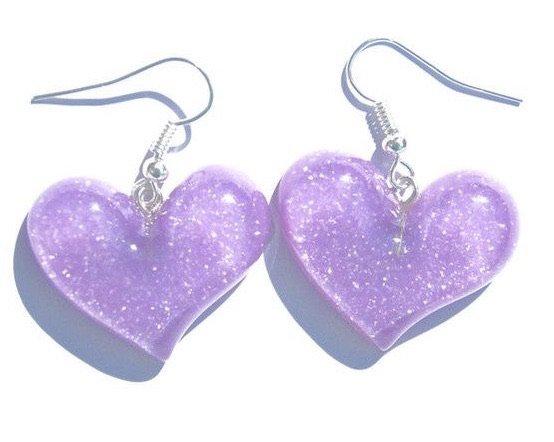 purple sparkly plastic heart earrings
