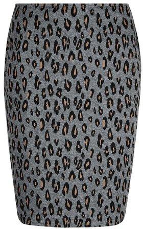 **Tall Grey Animal Print Mini Skirt