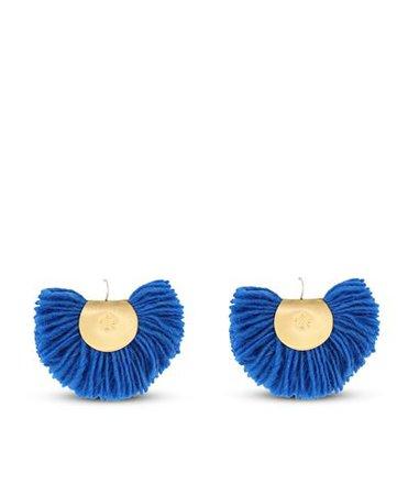 Katerina Makriyianni Royal Blue Hand Fan Earrings Mini < Katerina Makriyianni List | aesthet.com
