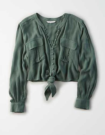 AE Tie Front Button Up Shirt green