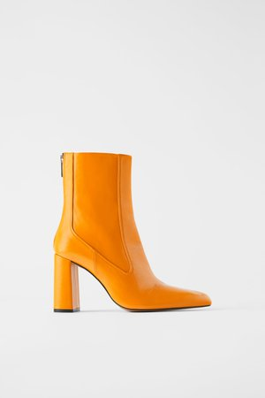 LEATHER HIGH HEEL ANKLE BOOTS WITH FITTED LEG - Ankle boots-SHOES-WOMAN | ZARA United Kingdom