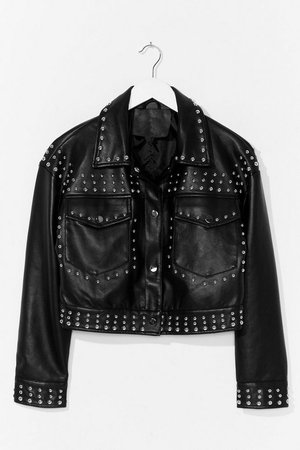 Tell Me About It Stud Faux Leather Shirt Jacket | Nasty Gal