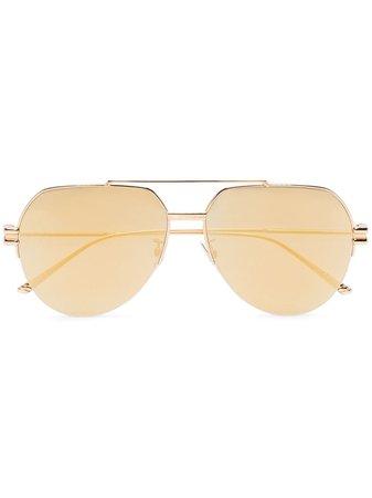 Bottega Veneta Eyewear half-rim aviator-frame Sunglasses - Farfetch
