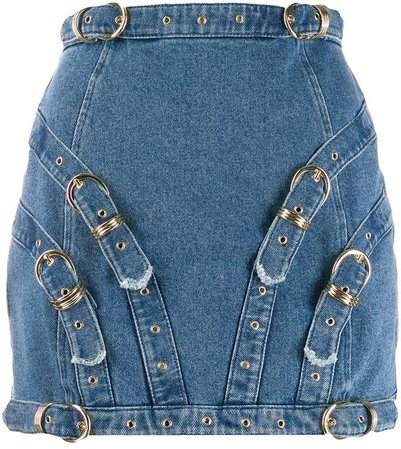buckle detail mini skirt