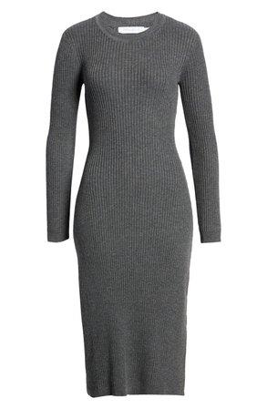 All in Favor Ribbed Long Sleeve Midi Dress | Nordstrom