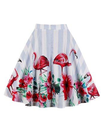Flamingo Print High Waisted Women's Skirt - Tbdress.com