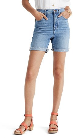 Tencel(R) Lyocell Edition High Waist Mid-Length Denim Shorts