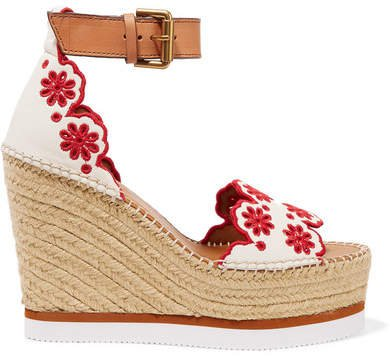 Embroidered Laser-cut Suede And Leather Espadrille Wedge Sandals - White