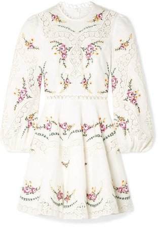 Allia Lace-trimmed Embroidered Linen And Cotton-blend Mini Dress - Ivory