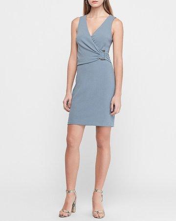 Buckle Front Wrap Sheath Dress