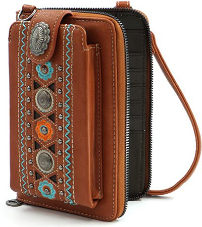 Brown Wallet Purse For Woman Crossbody Bag Small Travel Size Holds 12 Cards and Mobile