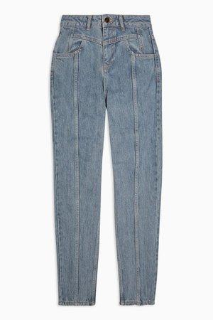 Bleach Yoke Panel Mom Jeans   Topshop