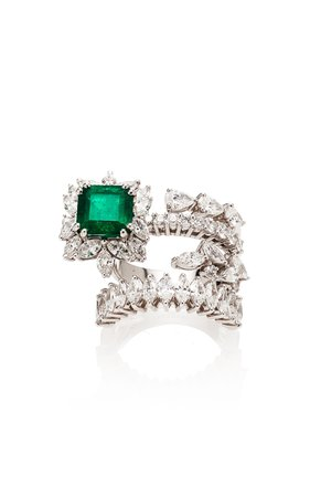 Yeprem Wrap Emerald And Diamond Ring