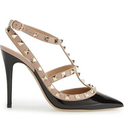 Valentino Garavani Rockstud Pointed Toe T-Strap Pump (Women) | Nordstrom