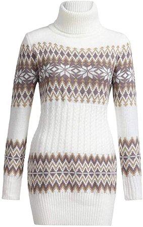 Amazon.com KASAAS Christmas Turtleneck Sweater Dress for Women Snowflake Print Long Sleeve Pullover Mini Dresses
