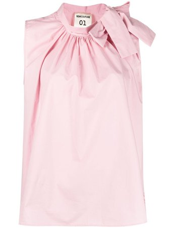 Shop pink Semicouture bow-collar sleeveless blouse with Express Delivery - Farfetch
