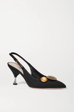 Black Embellished grosgrain and leather slingback pumps   Miu Miu   NET-A-PORTER