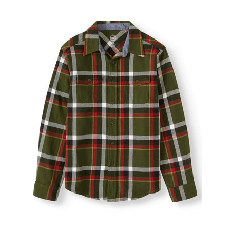 Wonder Nation - Wonder Nation Long Sleeve Flannel Shirt (Little Boys, Big Boys, & Husky) - Walmart.com