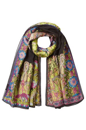 Embroidered Scarf with Silk Gr. One Size