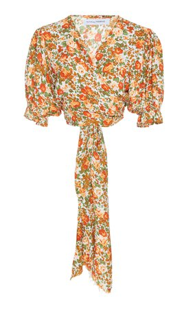 Faithfull The Brand Mali Floral-Print Crepe Wrap Top Size: M