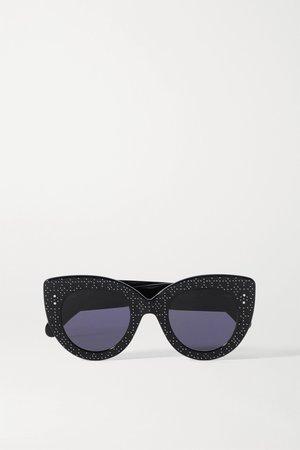 Black Cat-eye studded debossed acetate sunglasses | Alaïa | NET-A-PORTER