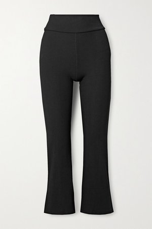 Zen Cropped Ribbed Stretch Flared Pants - Black