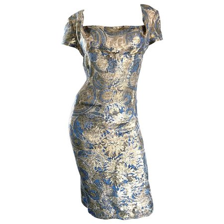 1950s Peggy Barton Couture Larger Size Gold + Blue Silk Brocade 50s Wiggle Dress For Sale at 1stdibs