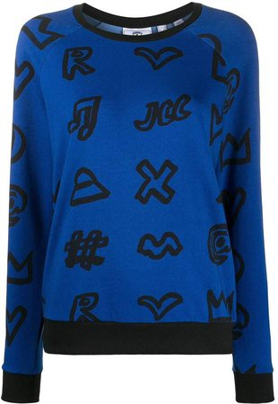 icon print crewneck sweatshirt