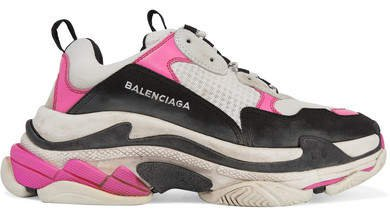 Triple S Mesh And Nubuck Sneakers - Bright pink