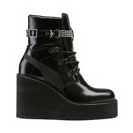 Leather Wedge Chain Ankle Boot, Black - FENTY PUMA