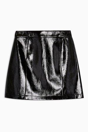 TALL Black Faux Leather Vinyl Mini Skirt   Topshop