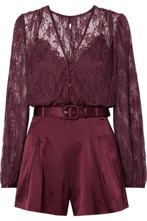 Jonathan Simkhai | Belted satin and stretch-silk lace playsuit | NET-A-PORTER.COM
