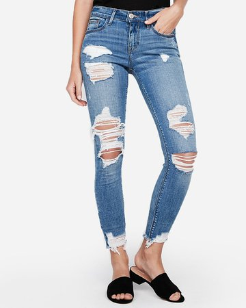 Mid Rise Medium Wash Ripped Ankle Leggings   Express