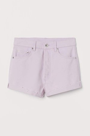 Denim Shorts High Waist - Purple
