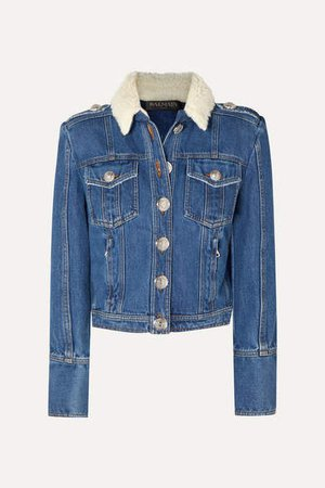 Button-embellished Shearling-trimmed Denim Jacket - Blue