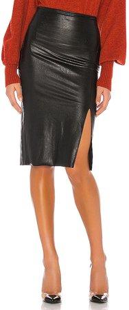 Faux Leather Side Slit Midi Skirt