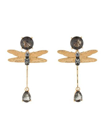 Tory Burch Dragonfly Crystal Drop Earrings - Earrings - WTO151519 | The RealReal